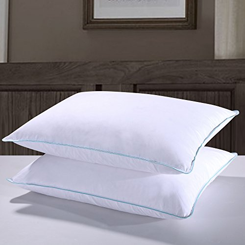 Homelike Moment Goose Feather Down Pillow Bed Pillows for Sleeping King Size Pillows Set of 2 100% Cotton Fabric ()