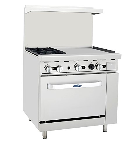 "Atosa ATO-2B24G NG 36″ Gas Range 2 Burners 24"" Griddle with 26.5″ Stove ETL"