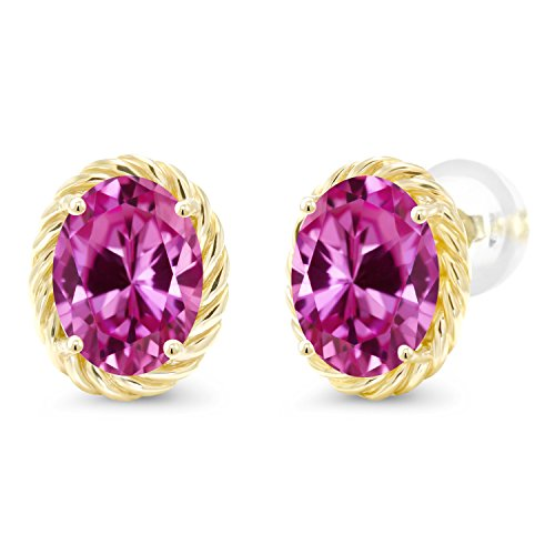 Pink Sapphire Oval Earrings (3.30 Ct Oval 8x6mm Pink Created Sapphire 14K Yellow Gold Twist Stud Earrings)