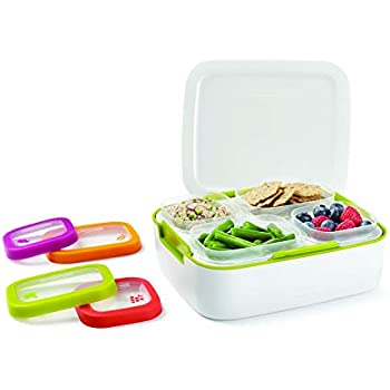 Rubbermaid Balance Pre Portioned Meal Kit Food Storage Containers, White/Citron, 11 Piece Set including Lids   Bento Box Style   Microwave and Dishwasher Safe