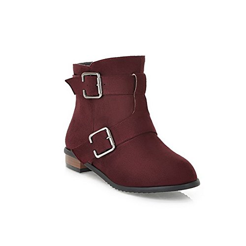 PU US Toe M Short Buckle Heels Wedge Womens B Boots Plush 5 with Closed Round Low Claret AmoonyFashion and Solid wSnqHxYAq