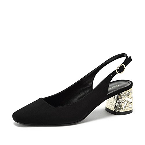 Shoes Thick Shoes Heel Black Sandals Belt Spring Rhinestone Koyi Pumps Court Decoration Buckle Women's New Mouth Shallow SqvaEOw