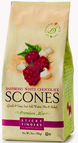 Raspberry Chocolate Scones - Sticky Fingers Raspberry White Chocolate Scone Mix, 15-Ounces (Pack of 3)