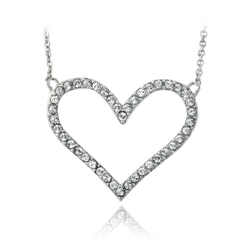 UPC 840102144673, Silver Tone Crystal Open Heart Necklace With Swarovski Elements