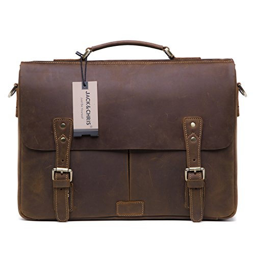 Jack&Chris Men's Leather Briefcase Messenger Bag Laptop Crossbody Shoulder Bag,MB008B - Us Luggage Expandable Briefcase