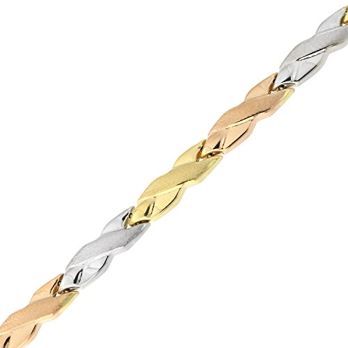 14k Yellow, White and Rose Gold Tri-Color Matte and Polished X Link Bracelet, 7.25