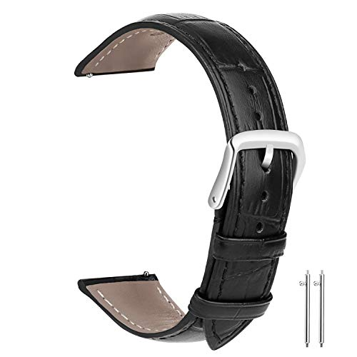 20mm Leather Watch Bands, Vetoo Classic Genuine Crocodile Pattern Leather Replacement Watch Strap - Black