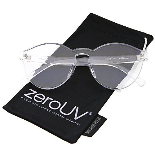 One Piece PC Lens Rimless Ultra-Bold Colorful Mono Block Sunglasses 60mm (Clear)