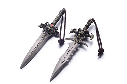 REINDEER WOW World of Warcraft Metal Sward Pendant Keychain w/ Leather Case US Seller (Frostmourne & Alliance Lion's Head Sword)