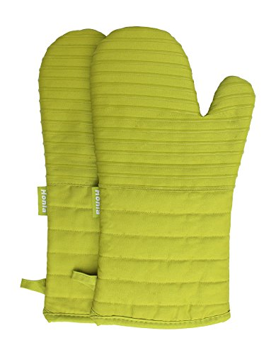 Lime Green Pot - Honla Kitchen Oven Mitts With Non-Slip Silicone Printed - 1 Pair of Heat Resistant Oven Gloves for Cooking,Baking,Grilling,Barbecue Potholders,Lime Green