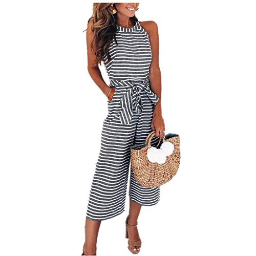vermers Womens Long Bohemian Jumpsuits Summer Stripe Printed Sexy Trouser Casual Rompers(S, Gray)