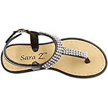 Sara Z Girls Rhinestone Strap Slingback Thong Sandal (See More Colors and Sizes)