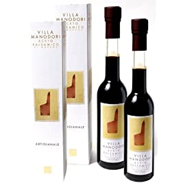 Villa Manodori Balsamic Vinegar, 2 Bottles (8.5 Fl Oz) 6 Aceto Balsamico di Modena Small batch artisan balsamic vinegar aged in various wood barrels Villa Manodori's dark color and rich aroma reflect a century of family tradition