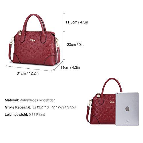 BOYATU Echtes Leder Handtasche für Frauen Business Büro Damen Umhängetasche Top Griff Satchel Tote Rote Dates bvVgY