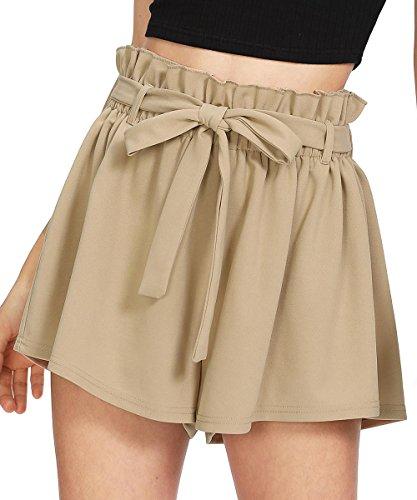 Khaki Walking Shorts - Romwe Women's Casual Elastic Waist Summer Shorts Jersey Walking Shorts Khaki M