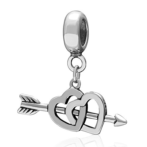 Ollia Jewelry 925 Sterling Silver Dangle Beads Cupid Match-Up Charm The Arrow of Love Charm Heart to Heart (Venus God Of Love)