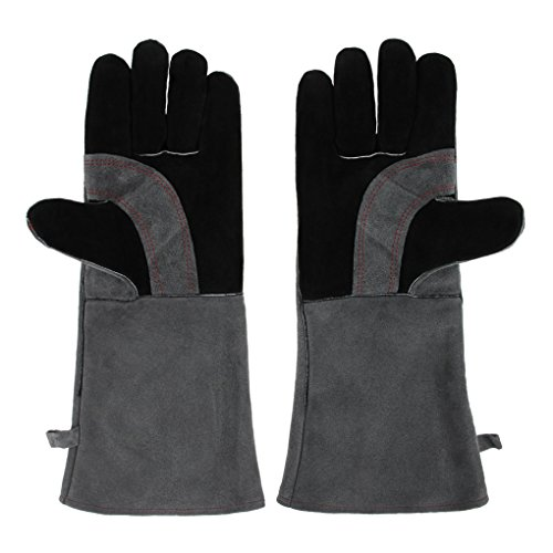 Leather Welding Gloves Welders Gauntlets High Temperature Heat/Fire Resistant, Lined Log Fire Safety Gloves Long 16 inch Forearm Protection Mitts for Tig Welders/Oven/Grill/Fireplace/Stove/Mig/BBQ by Clobeau