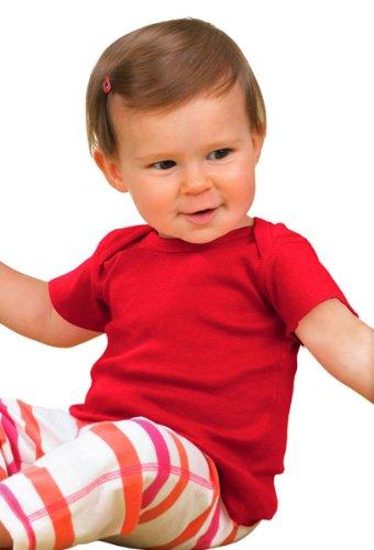 Rabbit Skins Infant Lap Shoulder T-Shirt, Red, NewBorn