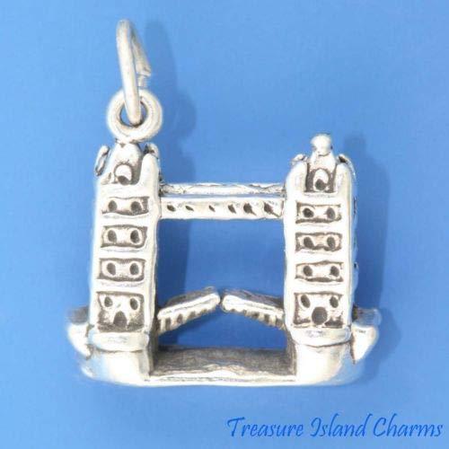 London Tower Bridge Eenglan UK 3D 925 Sterling Silver Charm Pendant Crafting Key Chain Bracelet Necklace Jewelry Accessories Pendants