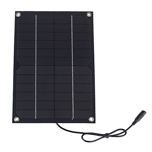 SUNWALK 6W 12V Semi-flexible Solar Cell DC Output Solar Panel DIY Battery Charger Kit Mini Encapsulated Solar Cell for Battery and Solar Test 260x170mm (6W 12V with DC Cable)