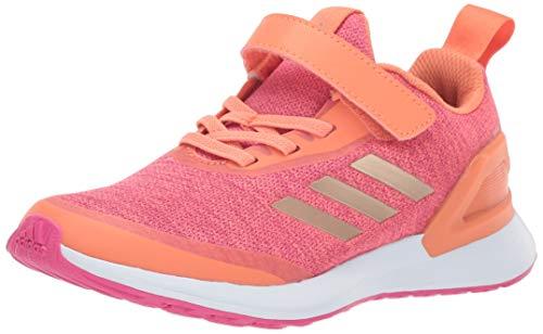 adidas Unisex-Kid's RapidaRun X EL Running Shoe, Semi Coral/Copper Metallic/Real Magenta, 1 M US Little Kid