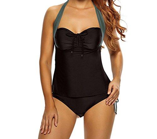 MYQueen Women Black Gray Halter Neck Tankini Swimsuit XXL (Brazil Fancy Dress Ideas)