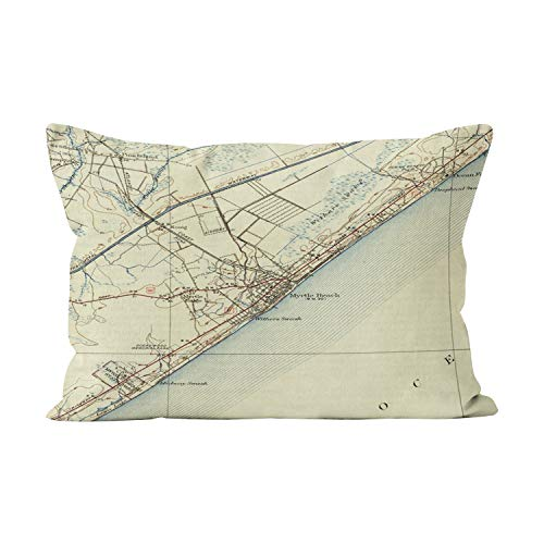 Suklly Vintage Map of Myrtle Beach South Carolina Beauty Hidden Zipper Home Decorative Rectangle Throw Pillow Cover Cushion Case 12x20 Inch Boudoir One Side Design Printed Pillowcase
