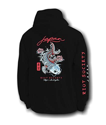 Riot Society Japan Koi Lotus Mens Hoodie - Black, X-Large (Sweater Japan)