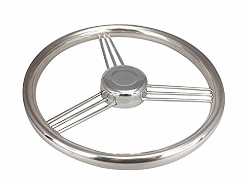 glorious_nx Stainless Steel Boat Steering Wheel - 13.5 inch 9 Spoke Marine Boat Steering Wheel 15 Degree