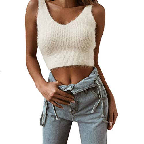 Women Cotton Sleeveless Short Sweater Tops Daoroka Ladies Sexy O-Neck Solid Jumper Pullover Casual Loose Tank Top Blouse Fashion Cute Autumn Winter Comfort Tunic T Shirt by Daoroka Women Blouse