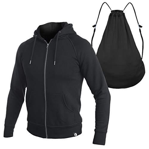 Quikflip Heavyweight Hero Hoodie (Convertible Full-Zip Backpack Hoodie) Black, XL