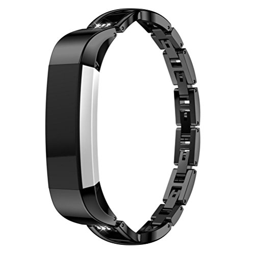 Price comparison product image Inverlee Replacement Small Metal Crystal Watch Band Wrist strap For Fitbit Alta HR / Alta (Black)
