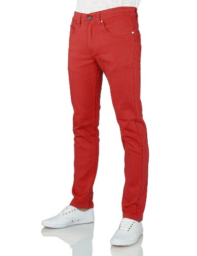 IDARBI Mens Casual Skinny Cotton Twill Pants RED 32/32 (Red Skinny Jeans For Men compare prices)