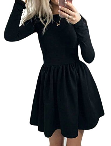 Mini Black Long Womens Casual Party Dress Sleeve Line Domple Flared Skater Pleated A FwA1Sqv