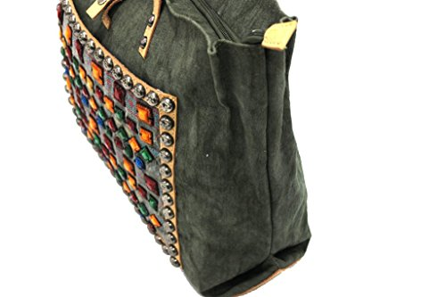 Borsa donna modello shopping a mano linea canvas Lookat y1374 verde