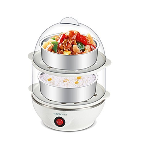 Glive's Electric 2 Layer Egg Boiler Poacher - Compact, Stylish 14 Egg Cooker With Measuring Cup &...