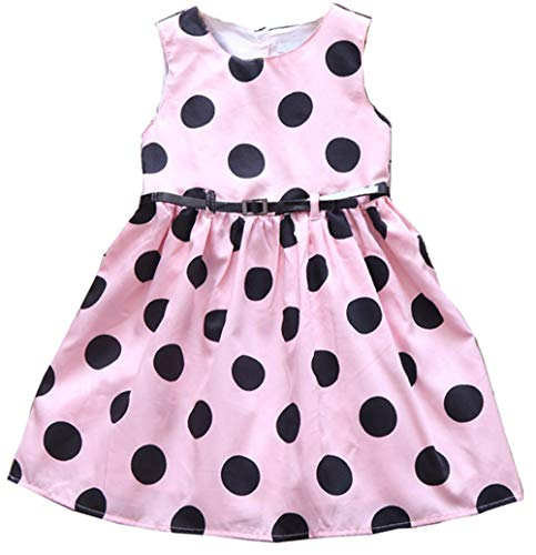 Jup'Elle Girls Dress Sleeveless 100% Cotton Black Polka Dots Print Todder Clothes Party Little Girl Casual Dresses Size 6