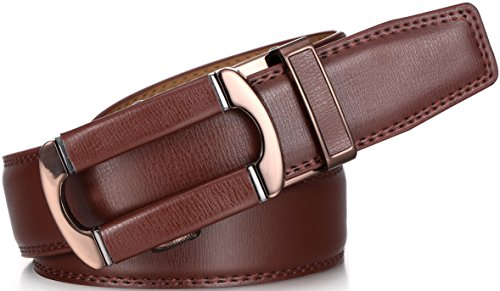 Marino Ratchet Click Belt for Men, Designer Mesn's Leather Dress Belt with Open Automatic Buckle, Enclosed in an Elegant Gift Box - Brown - Style 133 - Custom: Up to 44