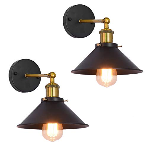 LynPon 2 Pack Wall Sconces Black Industrial Vintage Wall Lamp Brush Brass Light Fixture for Modern Farmhouse Warehouse Barn Porch Indoor Lighting