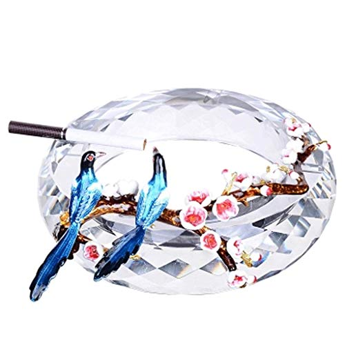 JLZS 198Creative Enamel Ash Cylinder Household Crystal Glass Ashtray Living Room Decoration Large Ashtray Gift Ashtray (Color : A)