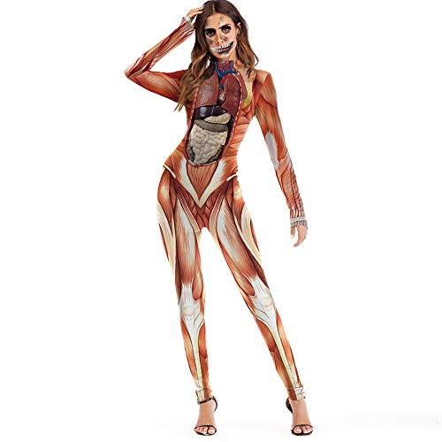 DEATU Hot Sale! Halloween Women Pants Ladies Casual Scary Halloween Cosplay 3D Skull Viscera Blood Print Party Costume Jumpsuit(Orange,L)