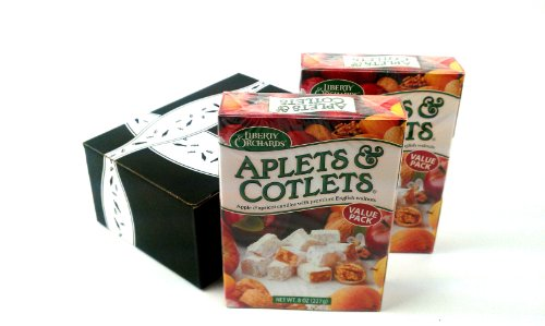 Liberty Orchards Aplets & Cotlets, 8 oz Boxes in a BlackTie Box (Pack of 2)
