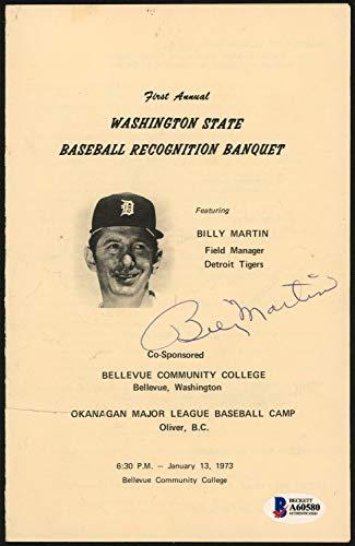 Billy Martin Autographed Signed Memorabilia 5.5X8.5 Program Detroit Tigers - Beckett - Signed Tigers Hand Detroit Mlb