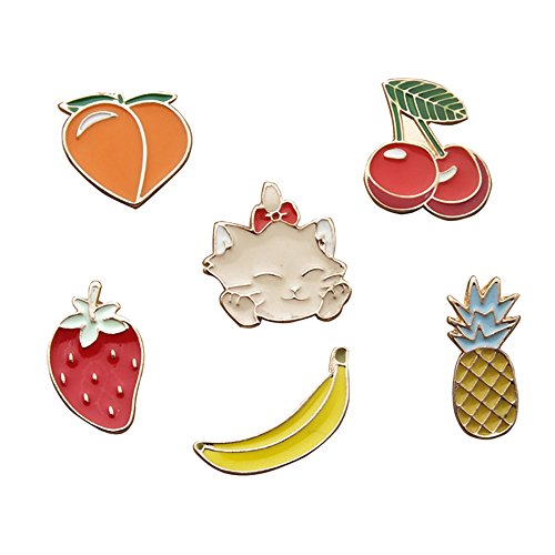 Fruit Brooch Pin (Fashion Cartoon Enamel Brooch Pins Set for Unisex Child Women's Clothing Decorate (Cat Fruits Set))