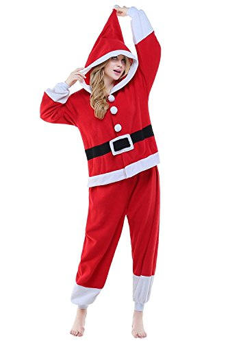 BELIFECOS Unisex Plush Santa Claus Pajamas One Piece Cosplay Holiday Costume