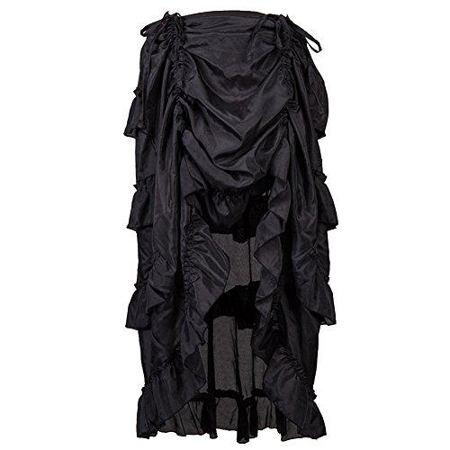 ZAMME Femmes en mousseline de soie  volants Burlesque Steampunk jupe pour Corset Noir