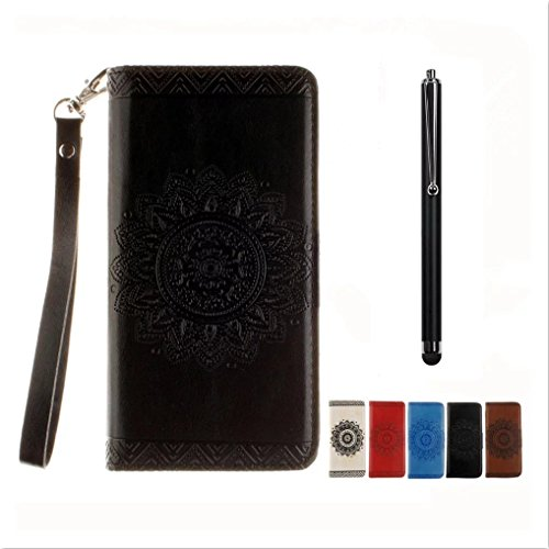 KSHOP Huawei Ascend Mate 7 Case, Huawei Ascend Mate 7 Wallet Case Embossed PU Leather Indian model mandala flower embossing Cover case Stand Support Function with cover binder for magnetic cards + touch of metal pen Black
