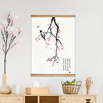 Hanging Poster with Wood Frames - Chinese Ink Painting of Pink Cherry Blossom - Ready to Hang Decorative Wall Art - 18