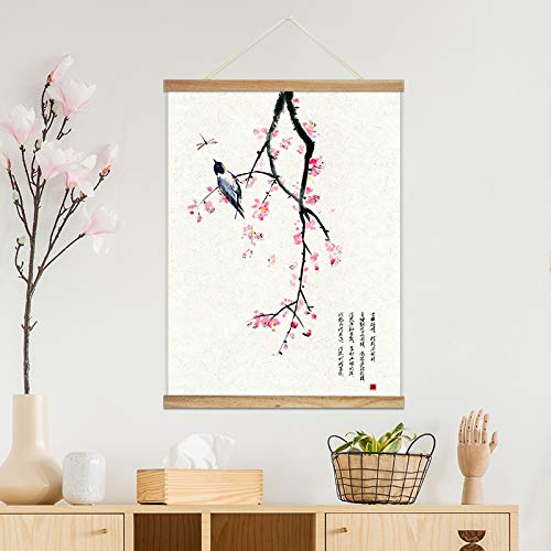 Hanging Poster with Wood Frames Chinese Ink Painting of Pink Cherry Blossom Decorative