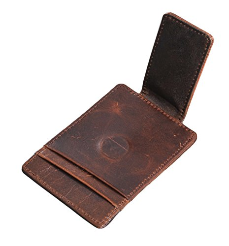 Mens Money Clip Wallet RFID Slim Wallet Genuine Leather Thin Front Pocket Wallet (Coffee (Oil Wax Leather)) by Yuhan Pretty (Image #1)